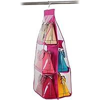 吊り下げ 収納 バッグ 透明PVC 両面3段式6個収納 取り付け簡単 折りたたみ収納ケース (レッド)