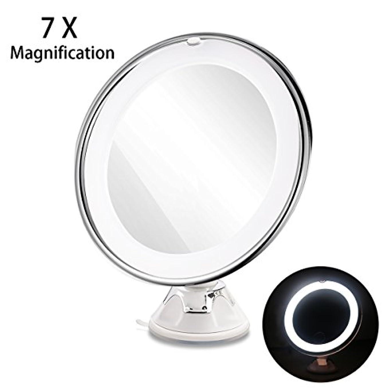 不忠色緯度RUIMIO 化粧鏡 メイクアップミラー 7倍拡大鏡 LED化粧鏡 円型 浴室鏡 卓上鏡 強力吸盤ロック付き 壁掛けメイクミラー 360度回転スタンドミラー 電池式(ついてません)