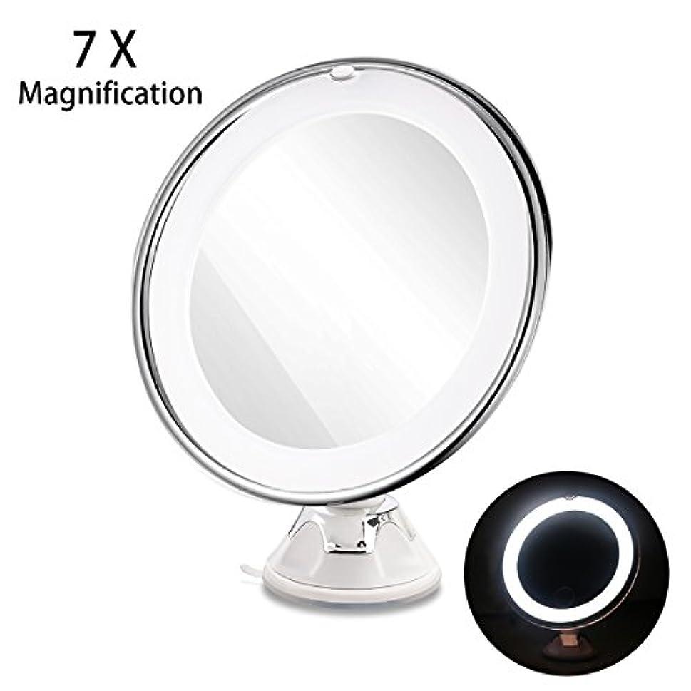 状解明する発揮するRUIMIO 化粧鏡 メイクアップミラー 7倍拡大鏡 LED化粧鏡 円型 浴室鏡 卓上鏡 強力吸盤ロック付き 壁掛けメイクミラー 360度回転スタンドミラー 電池式(ついてません)
