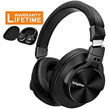 Bluetooth Active Noise Cancelling Headphones Over Ear, Srhythm Wireless HiFi Stereo Superb Deep Bass Headsets with Mic for Airplane Travel, TV, PC, Phone - Free Gift Airplane Adaptor (Black)