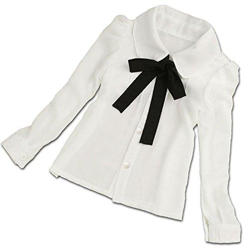 (ラクエスト) Laquest 子供 シンプル ブラウス シャツ リボン 白 長袖 入学式 卒業式 ...