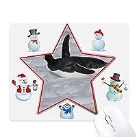 水の黒の南極ペンギン クリスマス・雪人家族ゴムのマウスパッド