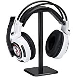 Headphone Stand Headset Holder, Proxima Direct Earphone Stand with Aluminum Supporting Bar Flexible Headrest ABS Solid Base for All Size Wired Wireless Headphone - Black