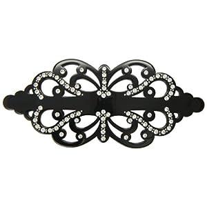 [キャラバン] Caravan ヘアアクセサリー フィリグリー 78個のクリスタル ラインストーン + スタッドで装飾された ブラック タイト 自動ピン バレッタ フランス製 1261