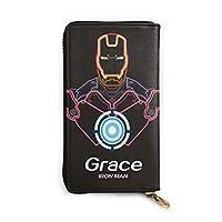 本革ジッパー 長財布 Iron Man 大容量、レザー カード シンプル薄型 財布 人気 ギフト 二つ折り 多機能
