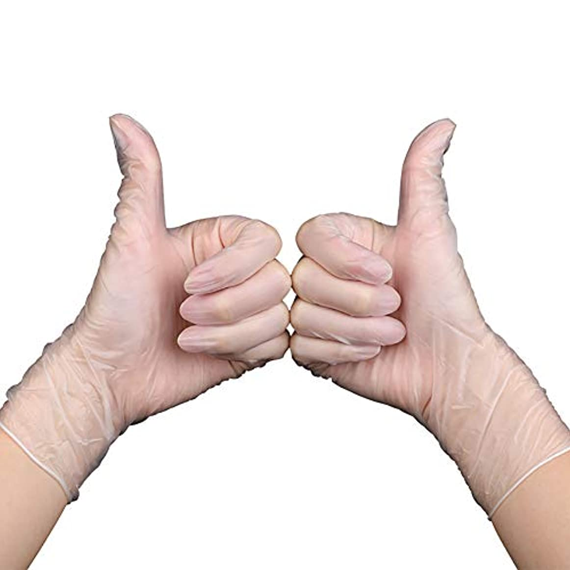 バドミントン解読する警告使い捨て医療用手袋、食品用PVC手袋、透明食品工場の医療検査美容室に適しています、200個
