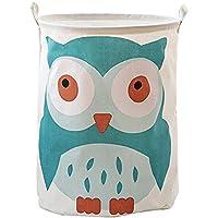 Cartoon Animals Largeサイズ洗濯物ストレージバスケット防水漫画折りたたみ式ランドリーバスケット(フクロウ)