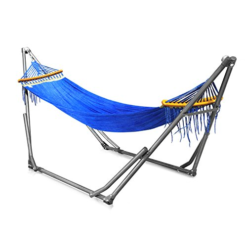 Nikatto ハンモック 自立式 ポータブルハンモック 柔らかい ロングサイズ 2層メッシュ製 ブルー