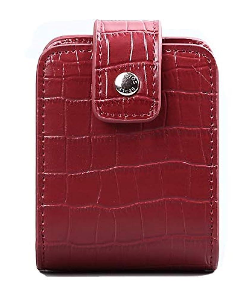 カウンタバンクより良いBESLY 女性用リップ化粧ポーチ リップを収納する ミニサイズ 携帯しやすい 人工製 赤 ワニ革を真似する牛革