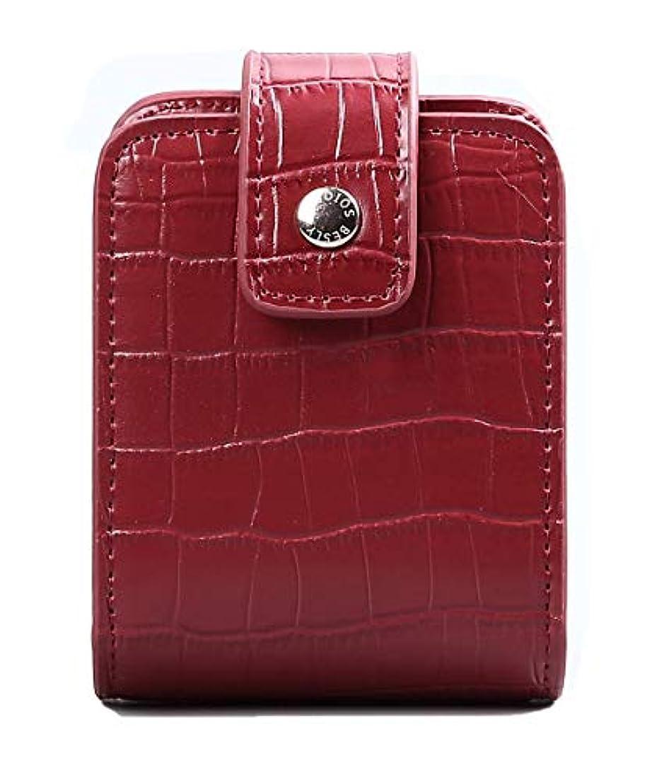 第受け取るブリリアントBESLY 女性用リップ化粧ポーチ リップを収納する ミニサイズ 携帯しやすい 人工製 赤 ワニ革を真似する牛革