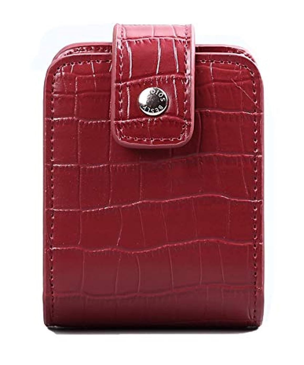 BESLY 女性用リップ化粧ポーチ リップを収納する ミニサイズ 携帯しやすい 人工製 赤 ワニ革を真似する牛革