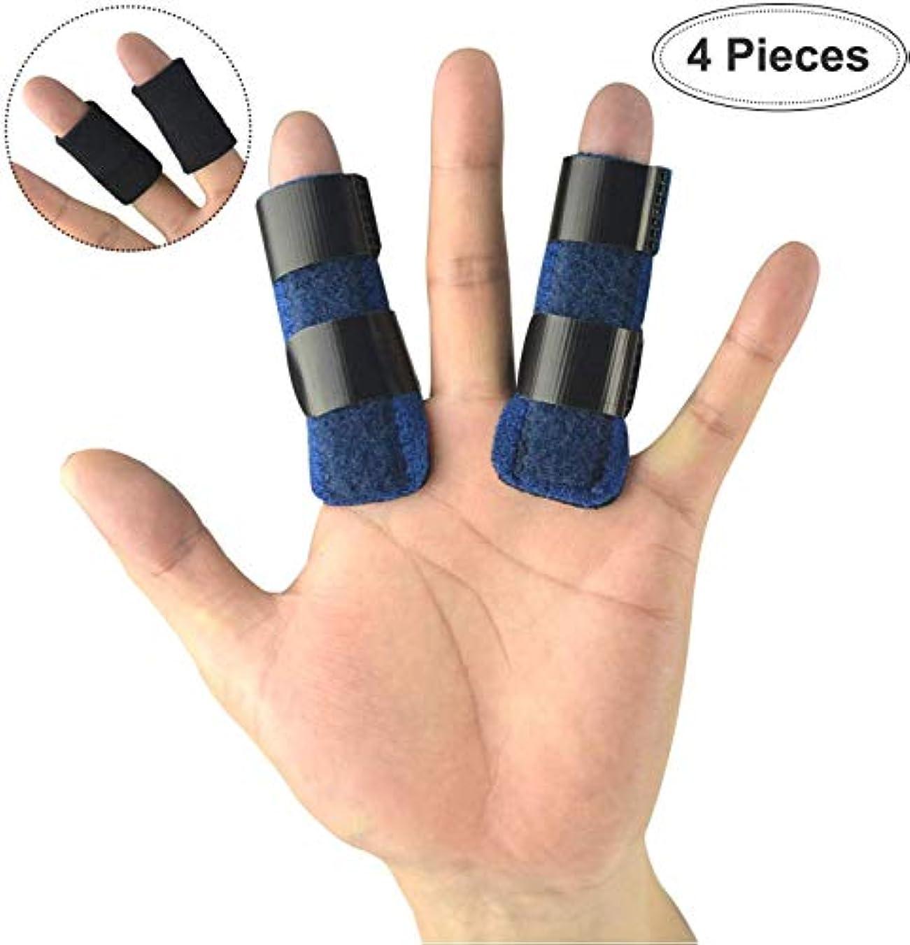 レコーダーランチョンボードトリガーフィンガースプリント(2セット)、軽量スポーツフィンガースリーブ、およびマレットフィンガー、中指、小指、関節炎、骨折指用のフィンガーブレース