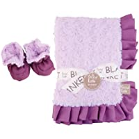 Trend Lab Lilac and Plum Swirl Velour Luxe Blanket and Booties Gift Set (21181) by Trend Lab
