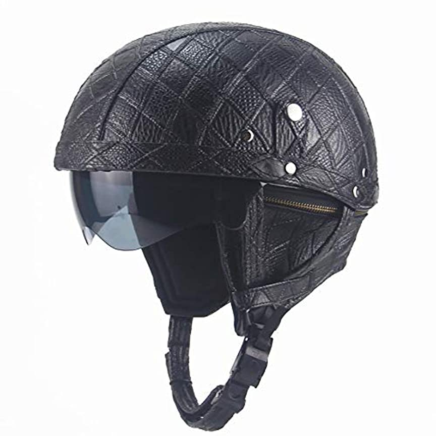 ディンカルビル伝導率香ばしいTOMSSL高品質 PUレザーコード取り外し可能な黒ABSプラスチック人格レトロハーレーレザーハーフヘルメットオートバイ車の自転車ヘルメット TOMSSL高品質