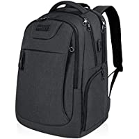 KROSER Laptop Backpack 17.3 Inch Computer Backpack School Backpack Casual Daypack Water-Repellent Laptop Bag with USB Charging Port for Travel/Business/College/Women/Men-Charcoal Black