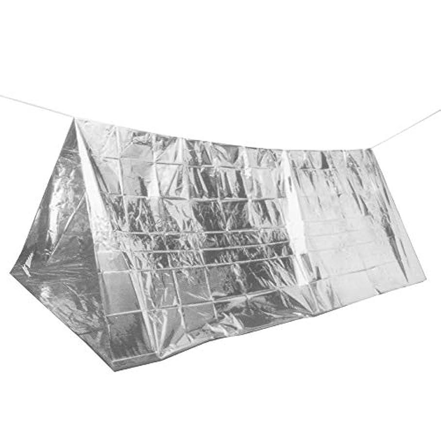 観客周り激怒Runcircle エマージェンシー シェルター サバイバル テント 寝袋 防災 避難用品 アルミ 防水 防寒 断熱 簡易 軽量 ロープ付 冒険 登山 野宿 折り畳み