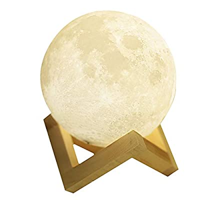 Qivange 3D Moon Lamp 2 Color Night Light Touch Control Brightness with USB Bedroom Decor Christmas Birthday Gift for Kids