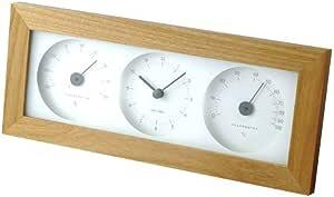 I.D.E.Ainternational ウッド温湿時計 置き時計 ナチュラルブラウン LDS010-NW 4190060