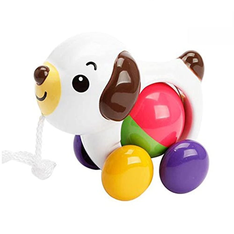 yuyugoベビーキュート犬Push Pull Toy For Toddler Learningウォーカー、ホワイト犬