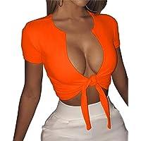 SINRGAN Women's Sexy Deep V Neck Short Sleeve Bandage Tie Front up Crop Tops