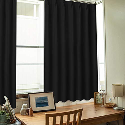NICETOWN 遮光カーテン 日焼け止め 目隠し 厚地 寝室 和室 小窓用 2枚セット ブラック 幅100cm丈110cm