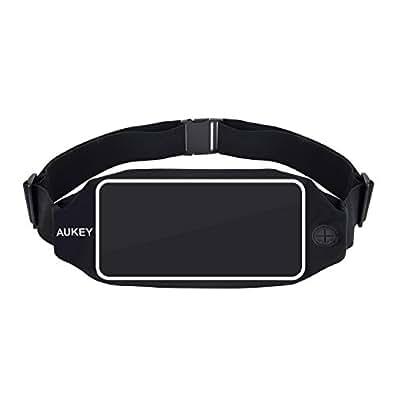 AUKEY ウエストバッグ ランニングポーチ 防水 スポーツ・アウトドア用 iPhone 6s/7 Plus 5.5インチ以内のスマホに対応 ブラック PC-T10