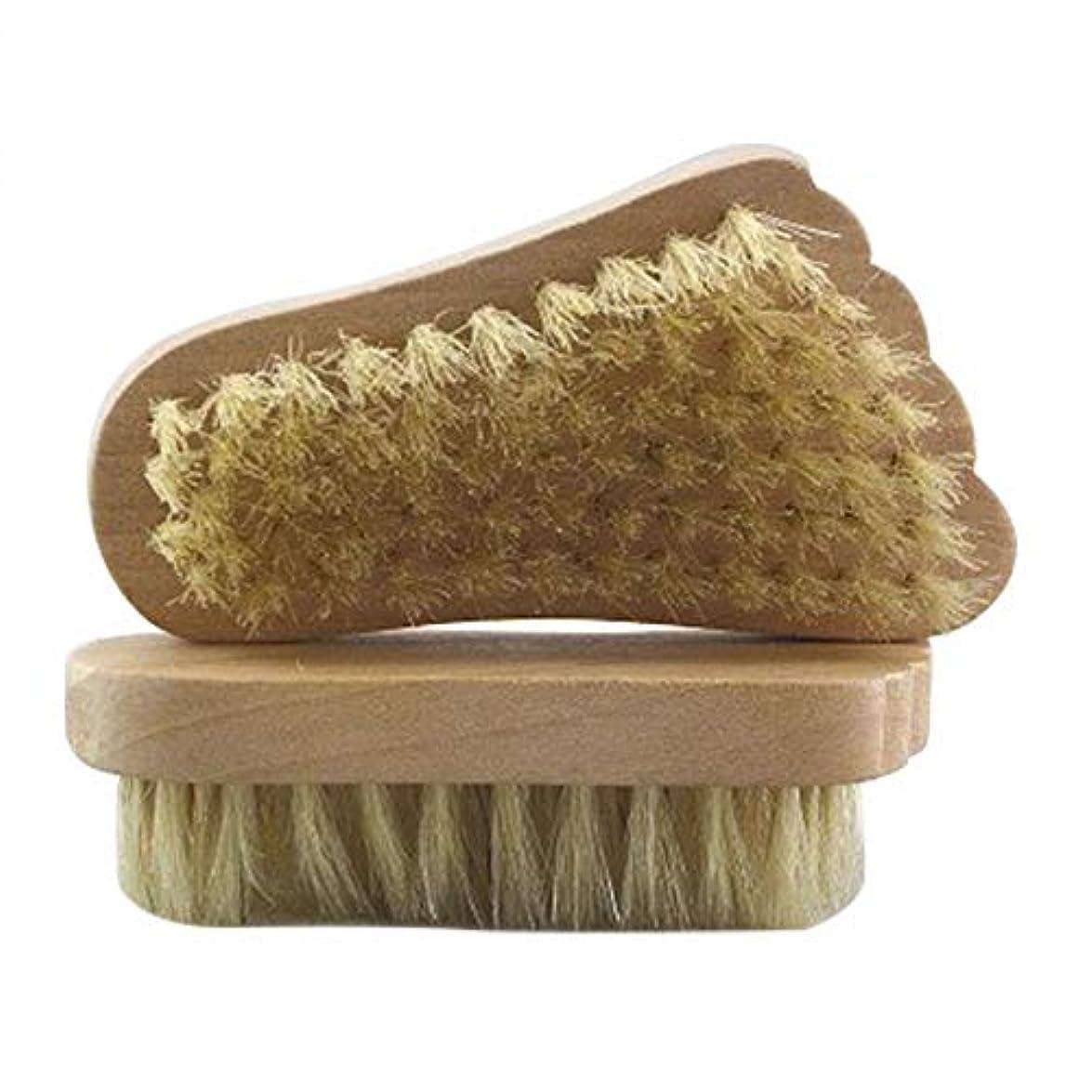 幻滅個人日光Maltose フットブラシ 豚毛 足の裏ブラシ 足爪ブラシ セルライト除去 角質除去 足 2個