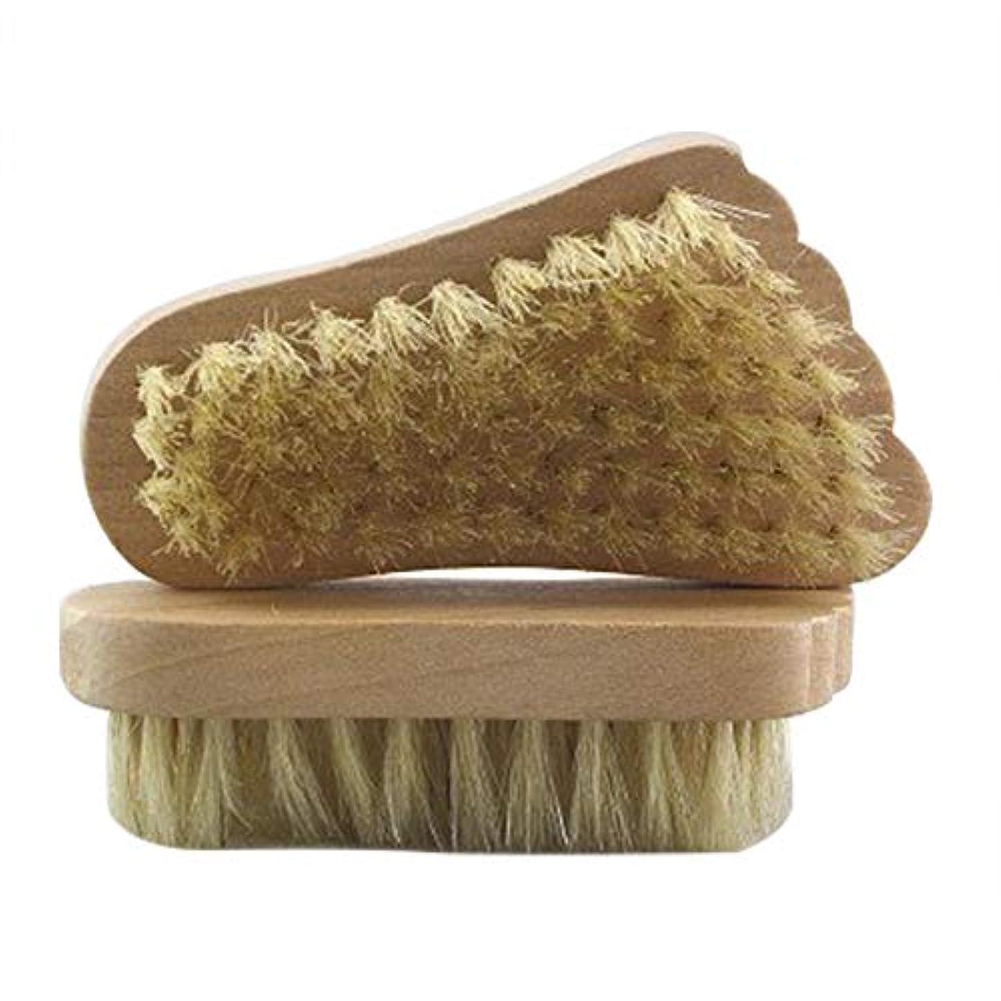 気候敬の念ピストンMaltose フットブラシ 豚毛 足の裏ブラシ 足爪ブラシ セルライト除去 角質除去 足 2個