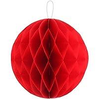 uxcell 吊り飾り ハニカムボール ランタン 誕生日 パーティー 紙 DIY レッド 25cmの直径