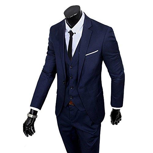 Victory Man(ビクトリー メンズ)スーツ メンズ 新着 カジュアルジャケット ビジネス スリムスーツ ベスト付き3ピース セット 紳士服/スーツ/入社式/卒業式/就活/就職/結婚式スーツ オールシーズン 一つボタン スタイリッシュスーツ 上下セット (3XL, ネイビー)
