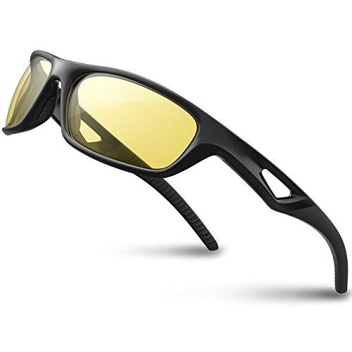 RIVBOS(リバッズ)RB831 スポーツサングラス 偏光レンズ TR90フレーム メンズ レディース ユニセックス サイクリングサングラス UVカット 軽量 ランニングサングラス サイクリング アイウェア (イエロー レンズ)