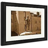"Ashleyフレームプリント、ここはスペイン語自由の女神像Explorer Ponce De Leon in front of the Lightener 30"" x 35"", Black Frame 6085507-AFPL1-BS20"