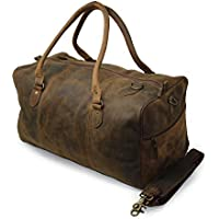 "20"" Leather Travel Duffel Bag for Men Large Gym Sports Weekend Duffle Bag Handmade Vintage Distressed Leather Luggage Handbag Overnight Carry On Tote Bag for Men Women"
