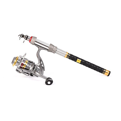 (1.8M/5.91FT) - Lixada Spinning Rod and Reel Combos Carbon Fibre Telescopic Fishing Pole and Spinning Fishing Reel Gear Full Kit