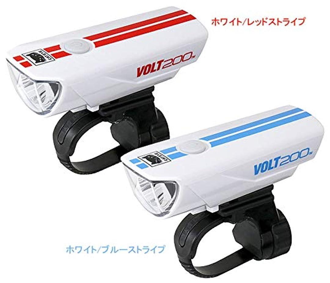 生命体簡単にマーケティングキャットアイ HL-EL151RC ボルト200 ヘッドライト USB充電 限定ストライプカラー ホワイトレッドストライプ