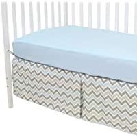 American Baby Company 100% Cotton Percale Fitted Crib Sheet and Zigzag Skirt Blue [並行輸入品]