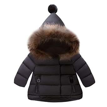 GALAXYONEベビー服 子供服 男の子 女の子 コート 長袖 厚手 フード付き 秋冬 ジャケット 防寒 アウター 上着 赤ちゃん服 普段着 旅行 プレゼント 80-130CM (黒, 80)