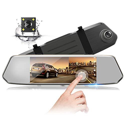 Toguard ドライブレコーダー ミラー型 1080Pフル HD 1200万画素 IPSタッチパネル ドラレコ Gセンサー搭載 エンジン連動 衝撃録画 緊急ロック 駐車モード 動き検知 ループ録画 WDR搭載 露光補正 夜間撮影 前後カメラ 170度広角 130度広角 デュアル録画 日本語表示 日本語取説書