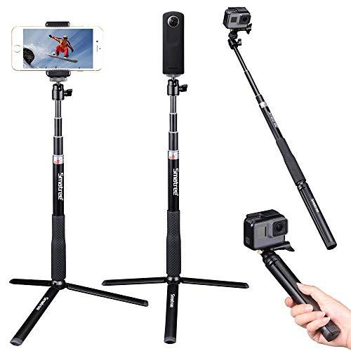 Smatree Q3S 自撮り棒 RICOH THETAS,THETAV 360°デジタルカメラ 及び GoPro、MUSONアクションカメラ&1/4ネジ穴コンパクトカメラ、スマートフォンも対応でき 自撮り棒 伸縮自在 防水