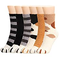 Bycc Bynn Women 6 Pairs Winter Fluffy Fuzzy Slipper Socks Novelty Cute Cat Claw Thermal Socks Thick Warm Sleep Floor Hosiery