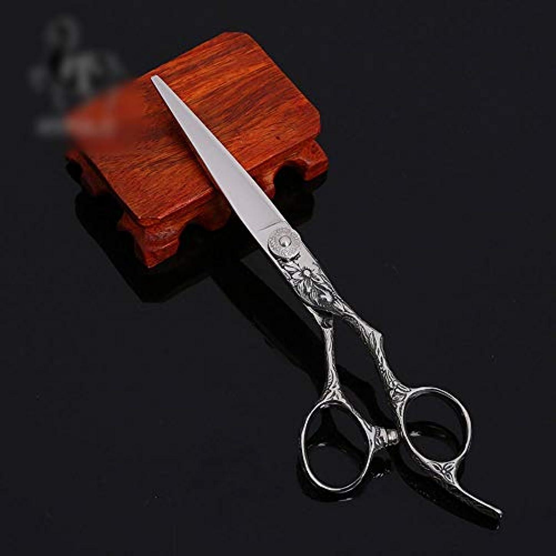 Goodsok-jp 6インチの美容院の専門の上限の理髪はさみの専門の平らなせん断セット (色 : Silver)