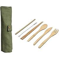 Five-choice カトラリー 木製 セット 箸 スプーン フォーク 6ピース 日本人 木製 カトラリー セット 竹 カトラリー ストロー カトラリー セット と 布 バッグ キッチン 料理 ツール