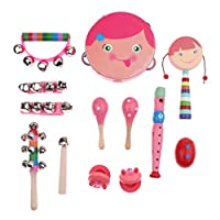 KESOTO 13点セット パーカッションセット 子供 おもちゃ シェーカーベル 打楽器 音楽玩具 全2色 - ピンク