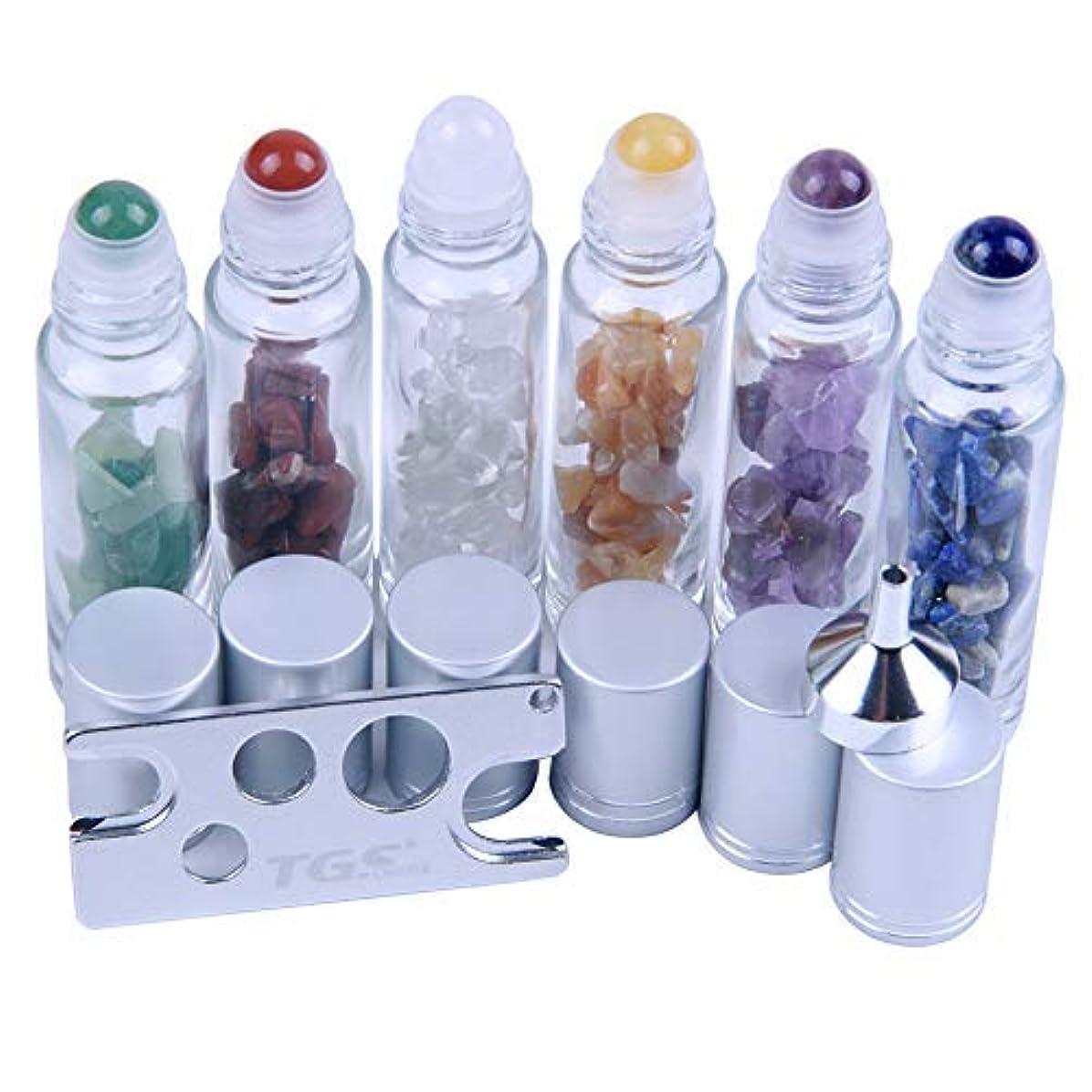 したい最初にだらしない10 ml Roller Balls for Essential Oils - Small Glass Roller Bottles with Decorative Tops & Mini Tumbled Gemstone...