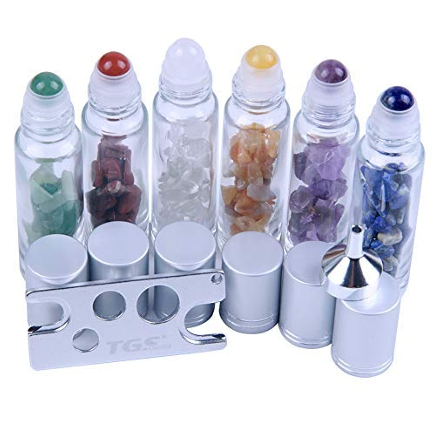 微妙シーンブランデー10 ml Roller Balls for Essential Oils - Small Glass Roller Bottles with Decorative Tops & Mini Tumbled Gemstone Chips Inside, 6 pcs [並行輸入品]
