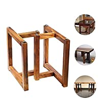 ソリッドウッドテーブル美脚X2、DIYダイニングテーブル/ティーテーブル/デスクサポートフレーム、ウォールナット色68センチメートル、3つのスタイル