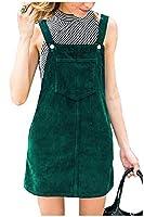 AngelSpace 女性のコーデュロイミニ調節可能なショルダーストラップは、全体的なドレス Green L