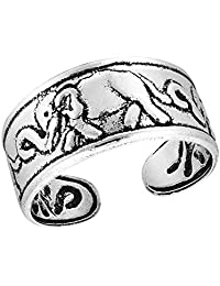AeraVida Triple Elephants Parade .925 Sterling Silver Toe Ring or Pinky Ring