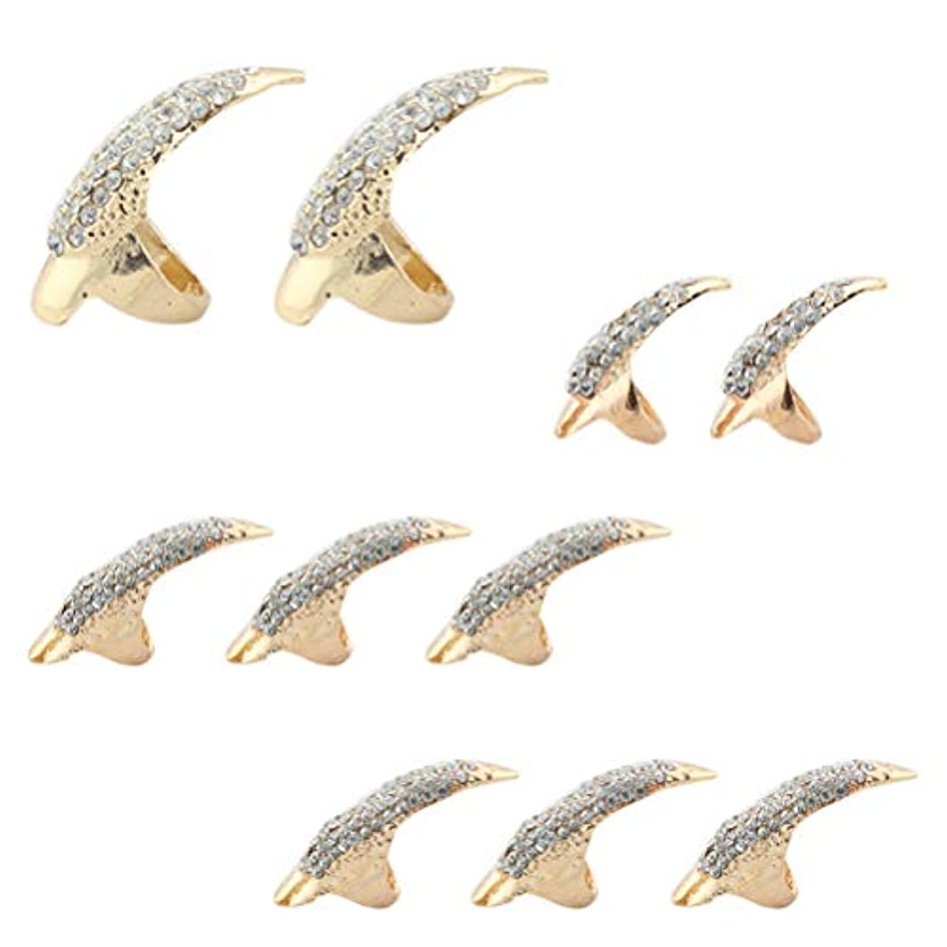 馬鹿解任皮肉なLURROSE 10本偽ネイルパンクスタイルタロン爪足指輪ナックルベンド指先指爪リング3サイズ(ブラック)