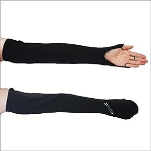 UVカット ハンドアームカバー 【手の平オープンタイプ】紫外線対策 (ブラック)